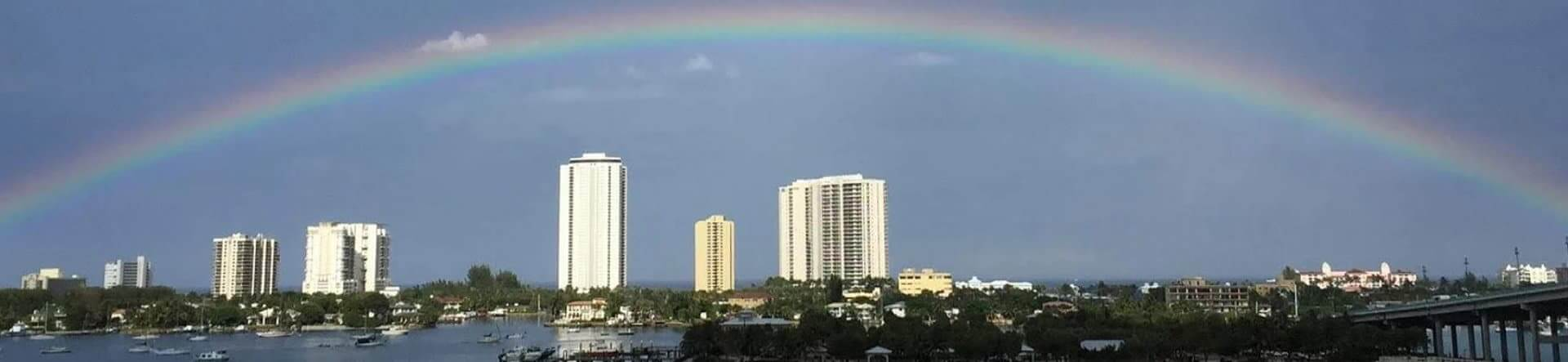 rainbow on a horizon concept